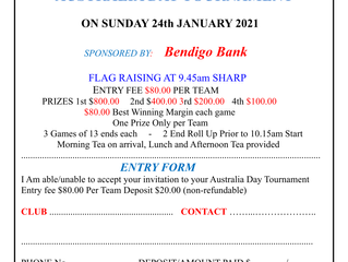 Australia Day Tournament for 2021 now OPEN