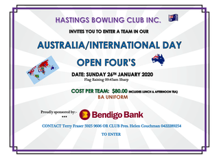 Australia Day Open 4's for 2020 details