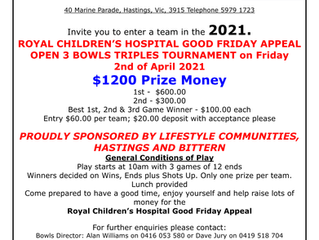 Annual RCH Good Friday Triples Tournament back on for 2021