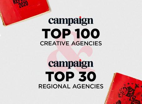 Walker Listed as Top 100 Creative Agency & Top 30 Regional Agency