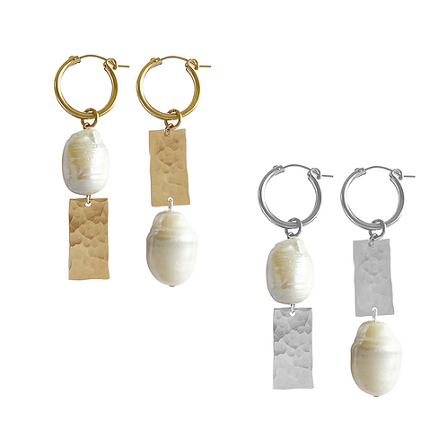 Misuzi- Pearl & Tag Mis-Match Earrings