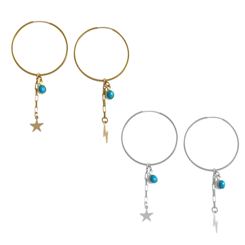 Misuzi- Star & Lightening Bolt. Mis-matched charm earrings
