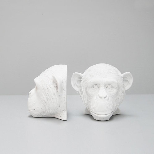 Monkey Bookends-White