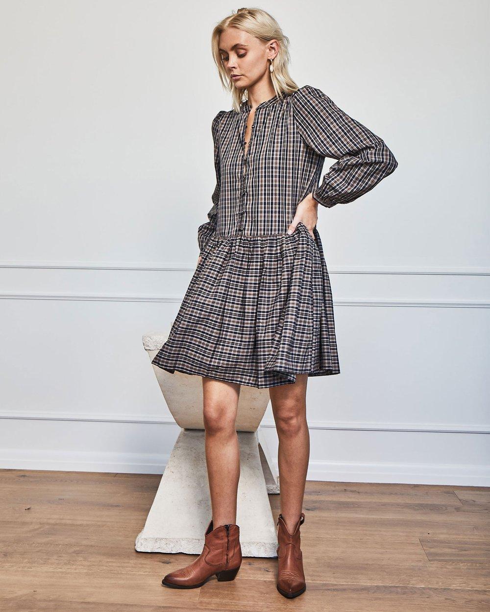 ZK Bid Dress - Cognac Check