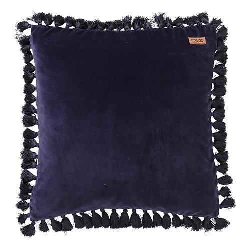 Velvet Tassel Cushion -Navy