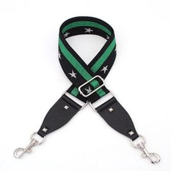 Bag Straps- Green Stripe/ Silver Stars