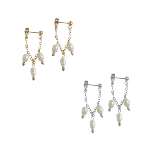Misuzi- Triple Pearl Drop Earrings