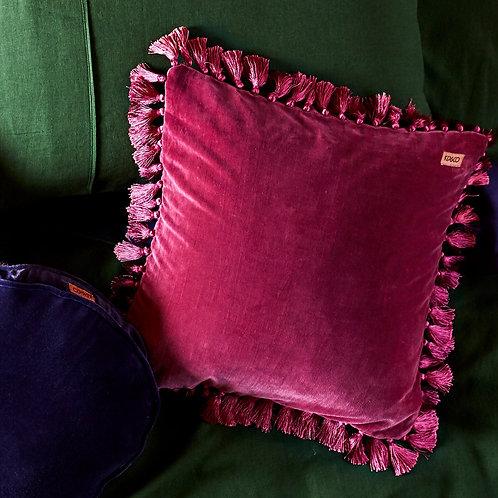 Velvet Tassel Cushion - Peony Rose
