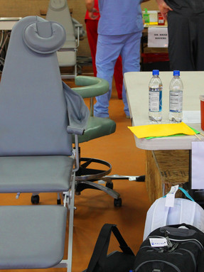 Dr. Dickson's work station on his humanitarian trips