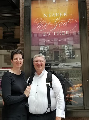 Dr. Dickson and his wife infront of Carnegie Hall, where they got to play in July 2019