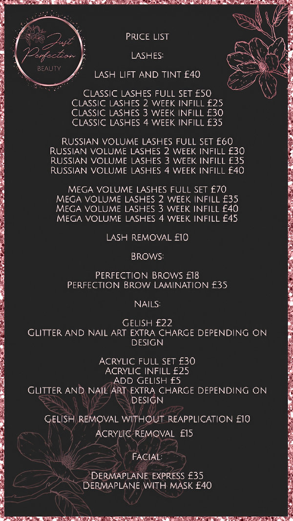 Just Perfection Treatment Price List