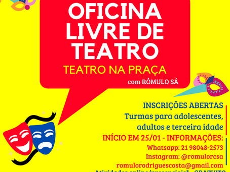 Oficinas Gratuitas de Teatro na Praça Afonso Pena, na Tijuca