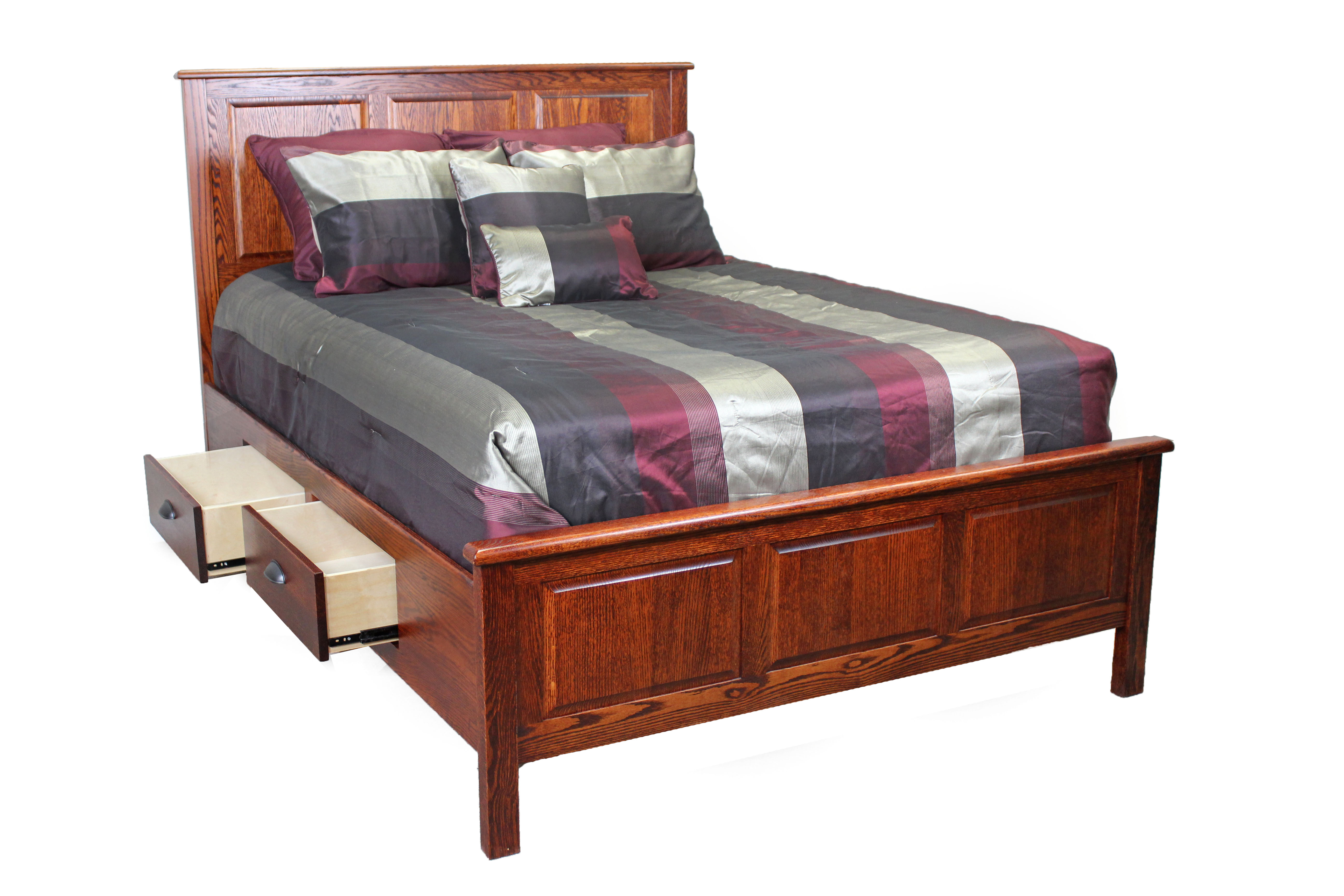 Oak Urban Queen Rail Bed w/ Storage