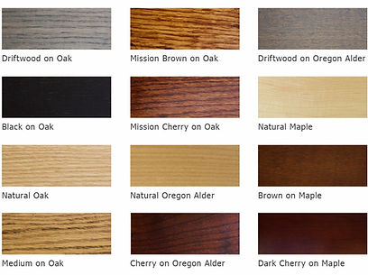 Oregon alder, maple, oak, stains, finish, oakcraft colors, hardwood, hardware, knobs