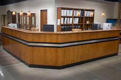 Bar Top Reception Desk + Bookcases