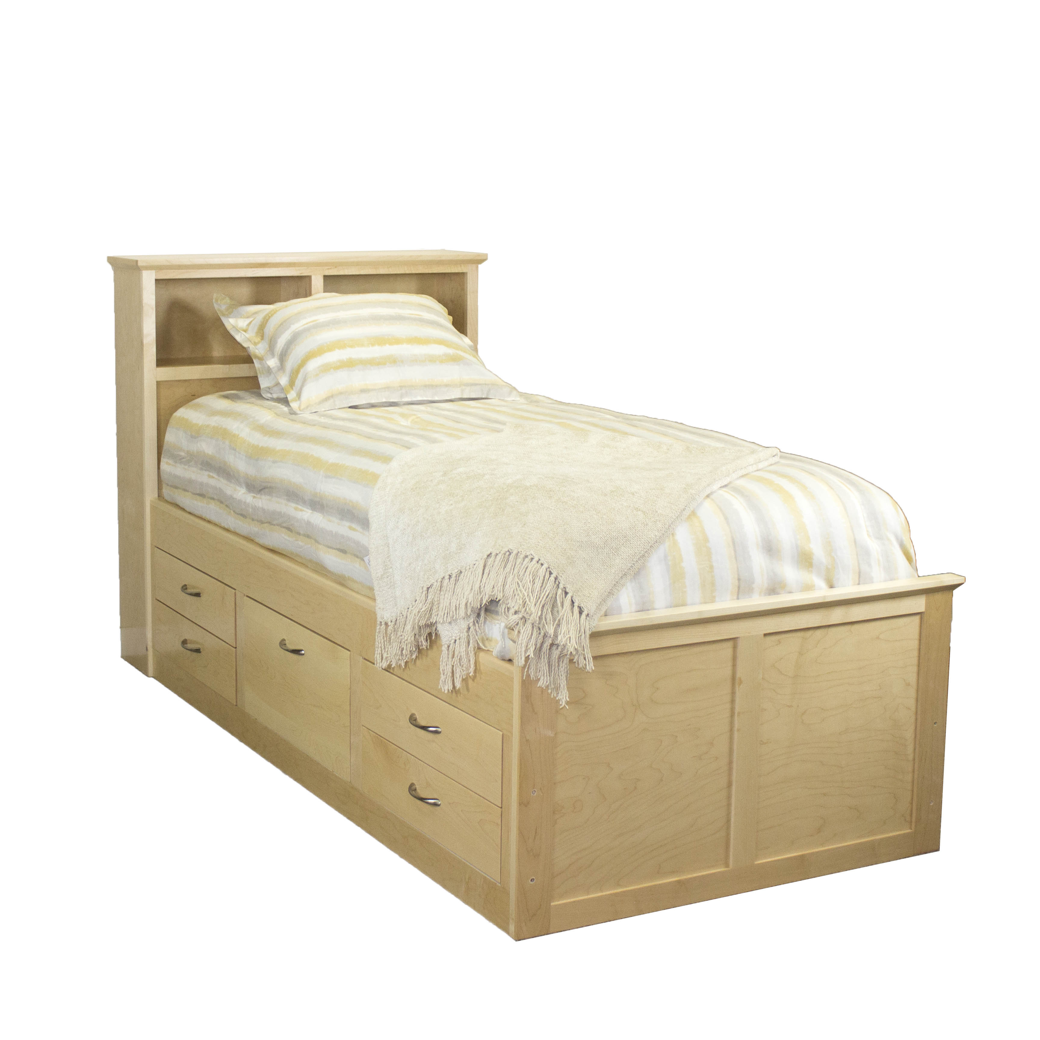 Maple Shaker Twin Captains Bed
