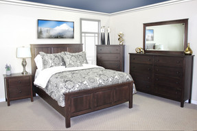 Cascade Queen Panel Bed in Oak with Cocoa Bean finish