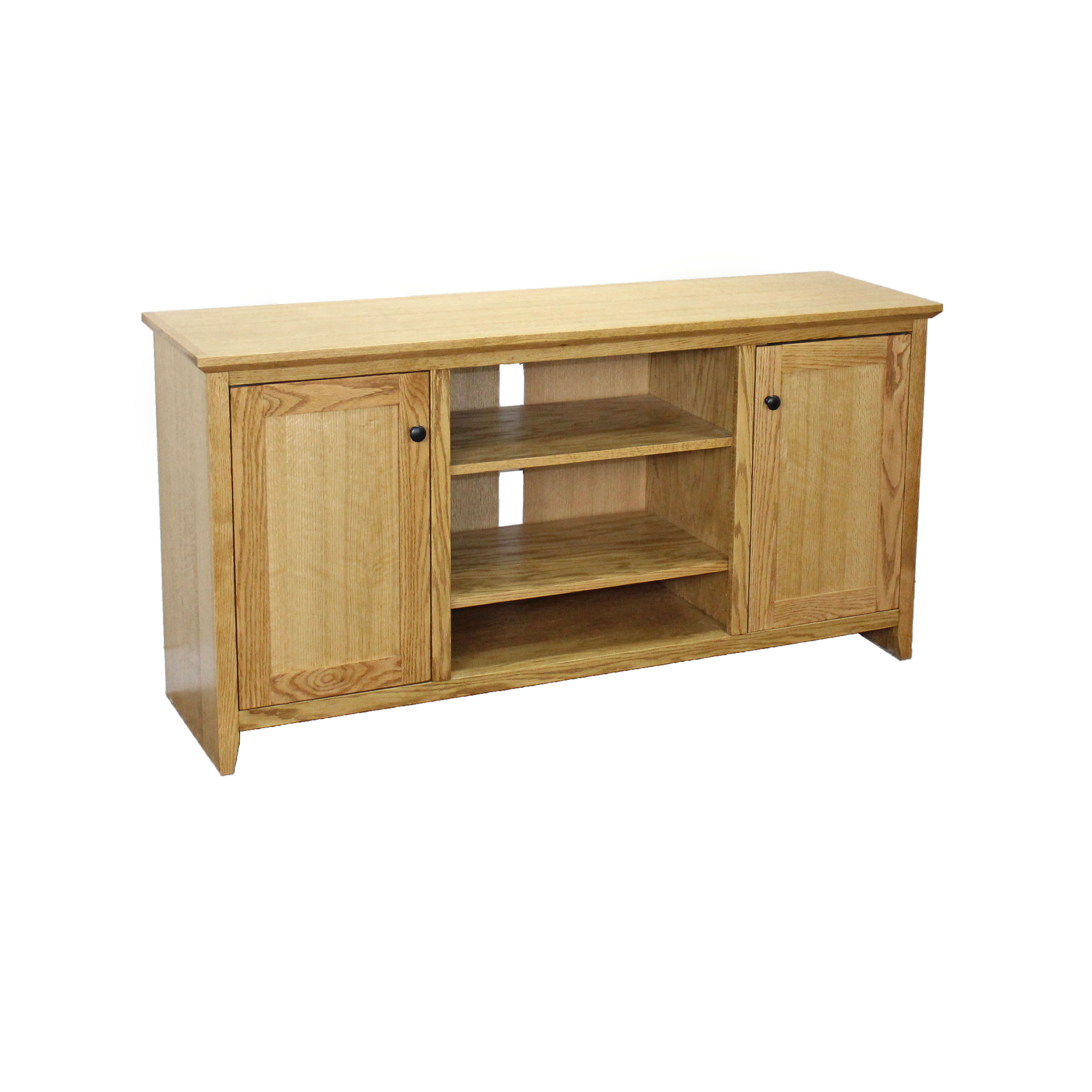Oak Shaker TV Console w/ Wood Doors