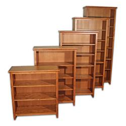 Oak Mission Brown Shaker Bookcases