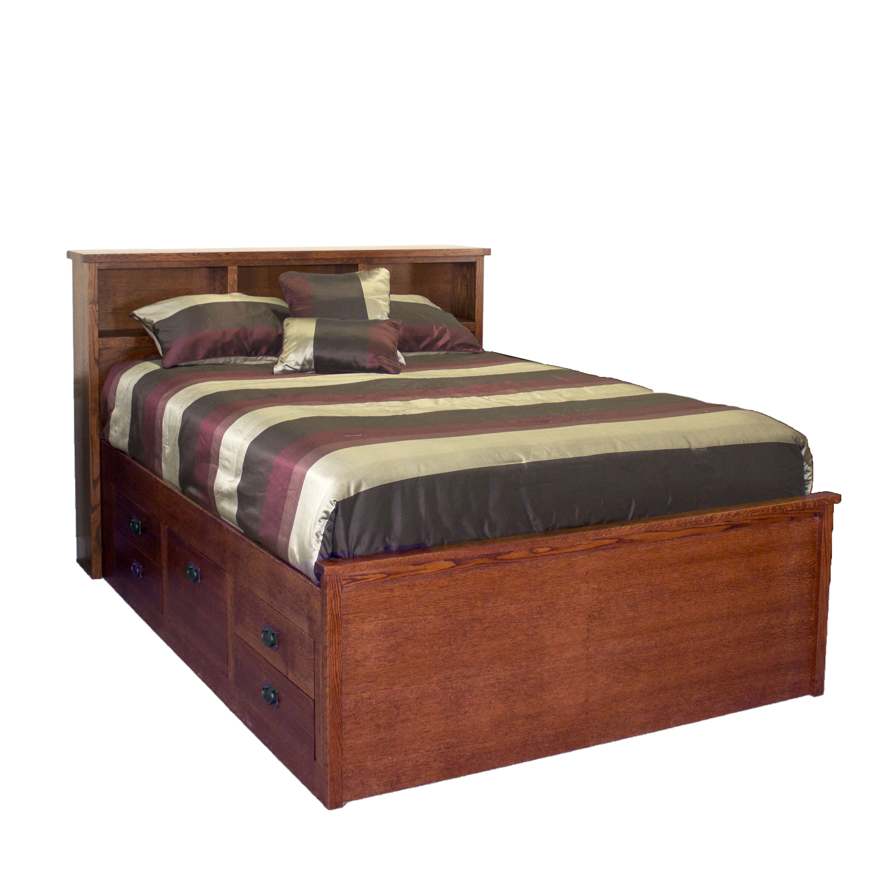 Oak Queen Cptns Bed w/ Bookcase Hdbd