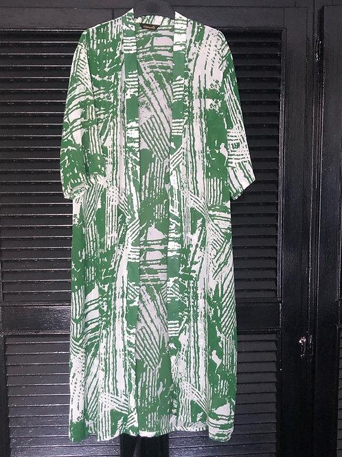Green White Long Kimono