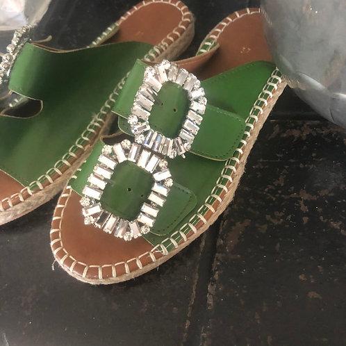 Round Toe Diamanté Espadrille - Green