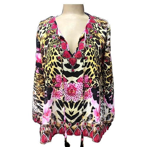 Tunic with orchids and leopard print crystal embellished