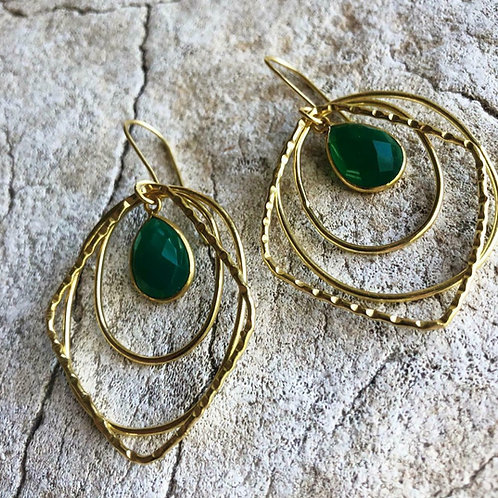 Squiggles in faceted green onyx earrings