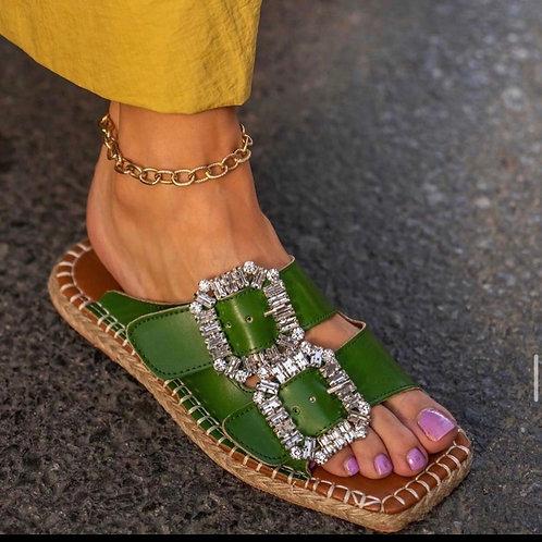 Diamanté Espadrille- Green
