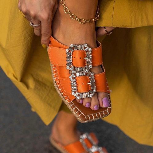 Diamanté Espadrille- Orange