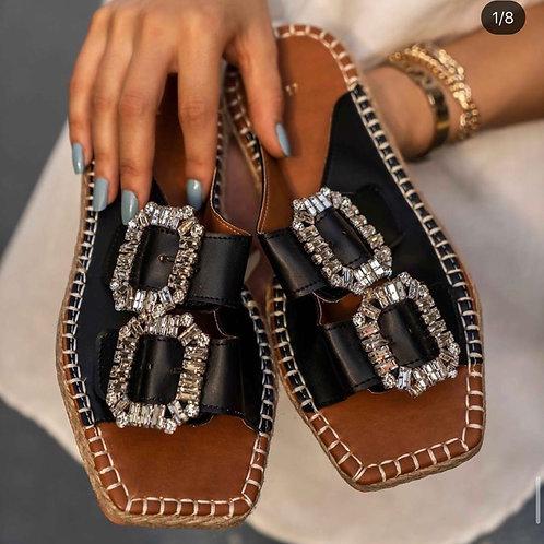 Diamanté Espadrille- black