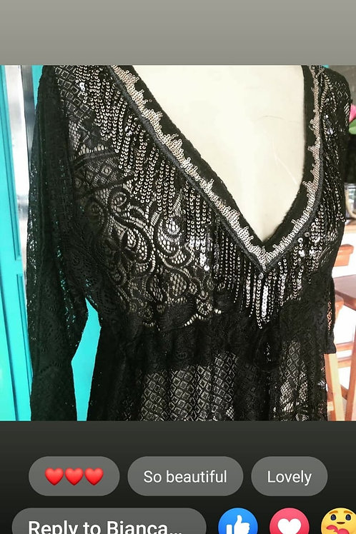 Lace Kaftan - Black