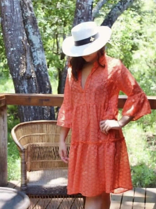 Coral Anglaise Tier Dress
