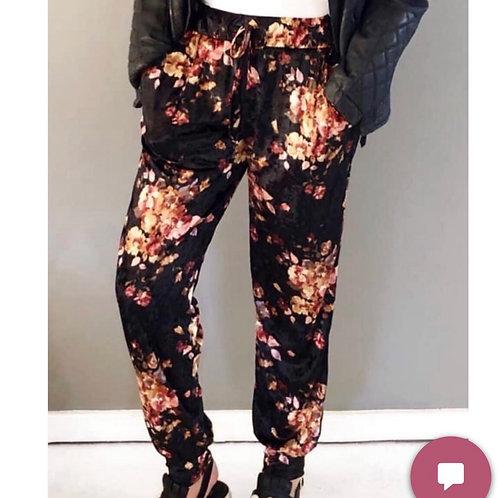 Lush floral velvet track pants