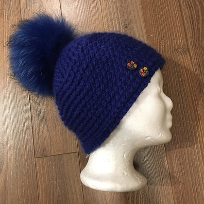 Königsblaue Wollmütze mit Bommel