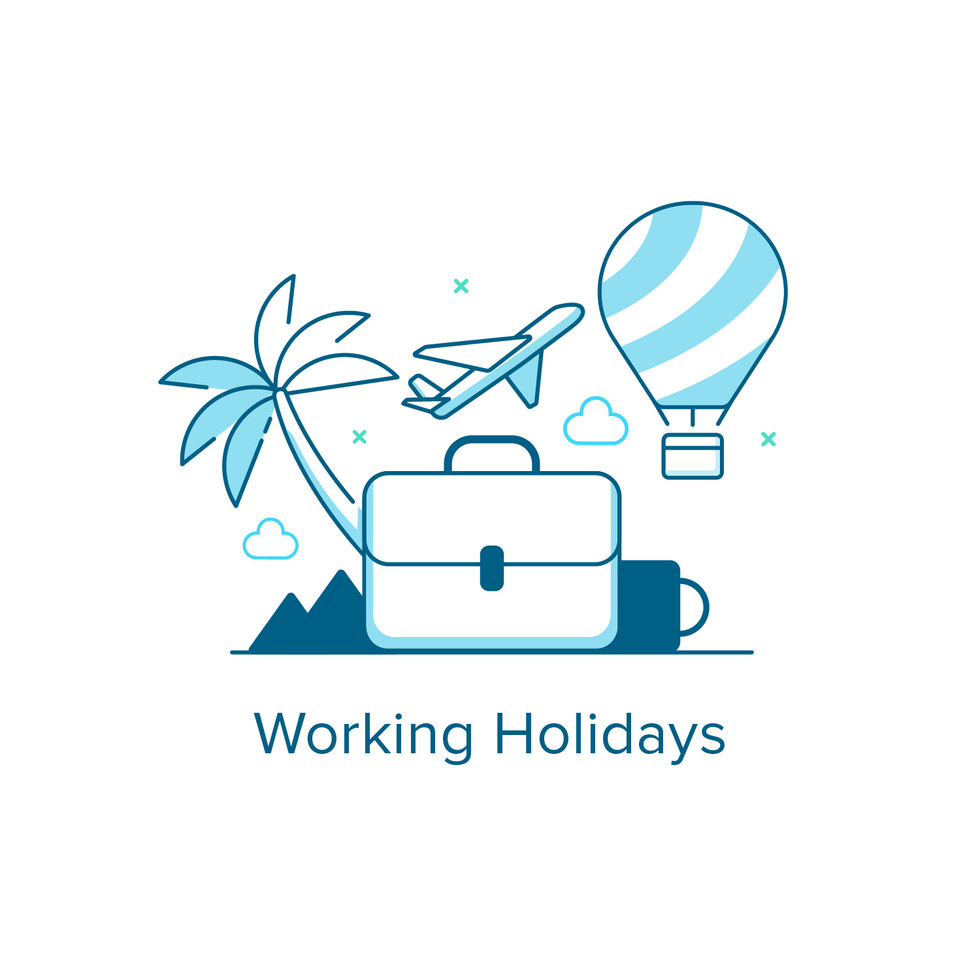 Working Holiday Animated Icon Graphic