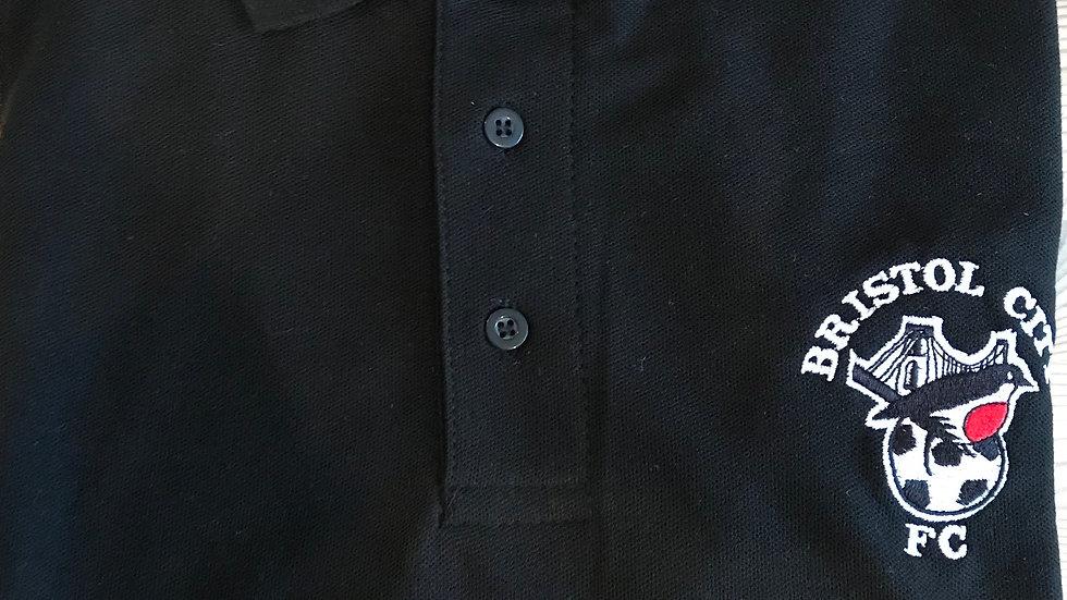 Retro Robin Fanzine Polo Shirt in BLACK
