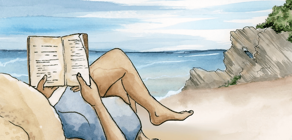 Humble Forager Reading on a Beach