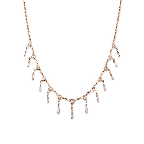 Diamond with Baguette Shaker Necklace