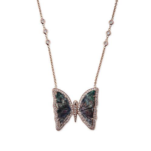 Opal Butterfly Diamond Necklace