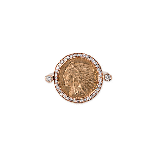 Antique Gold Coin Swivel Ring