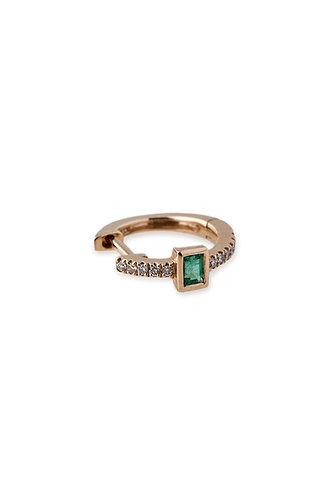Emerald Baguette Mini Hoop Earrings
