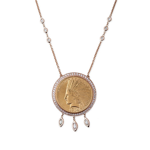 Gold Coin Marquise Shaker Necklace