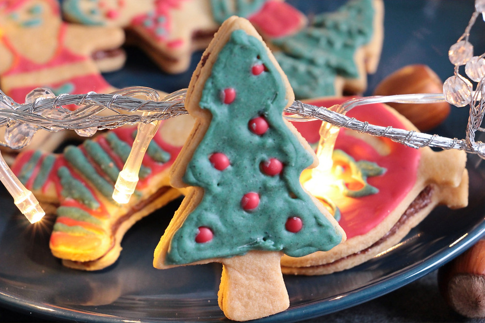 Sablé sapin fourré pâte à tartiner Noël