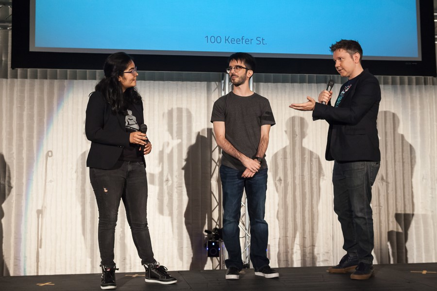 Composure team on stage. (L-R) Divya Dias, Roberto Guedes.