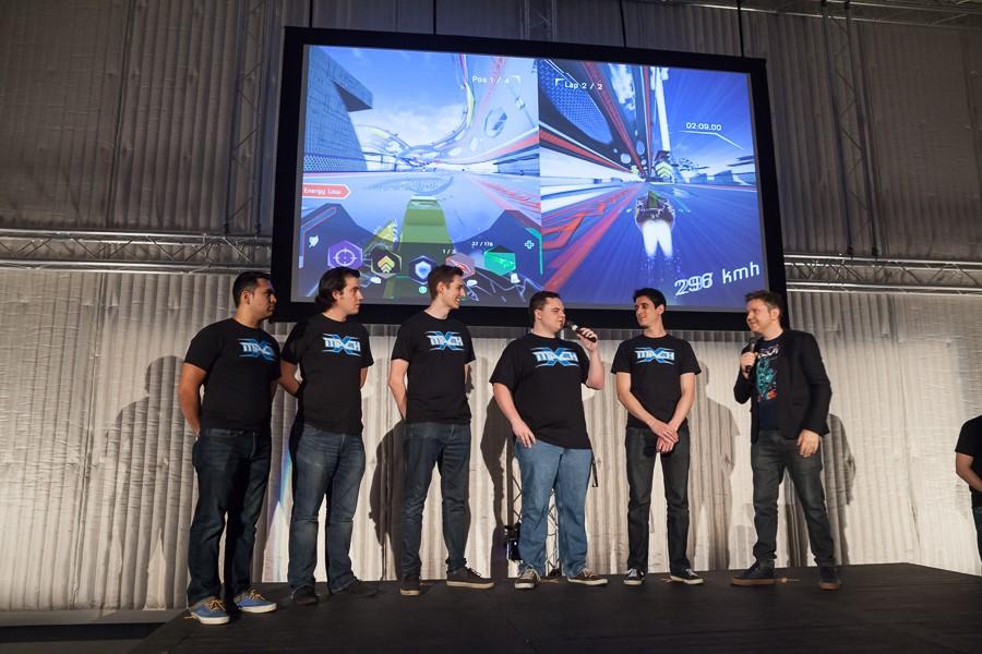 MachX team on stage. (L-R) Jorge Peral, Luis Hernandez, Michael Wille, Jordan Pongracz, Marc Wacker)