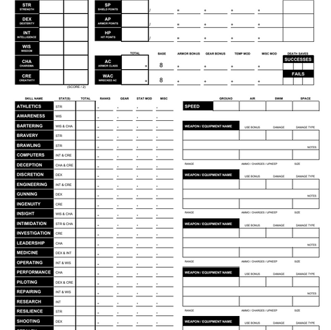 Character Sheet - Page 1