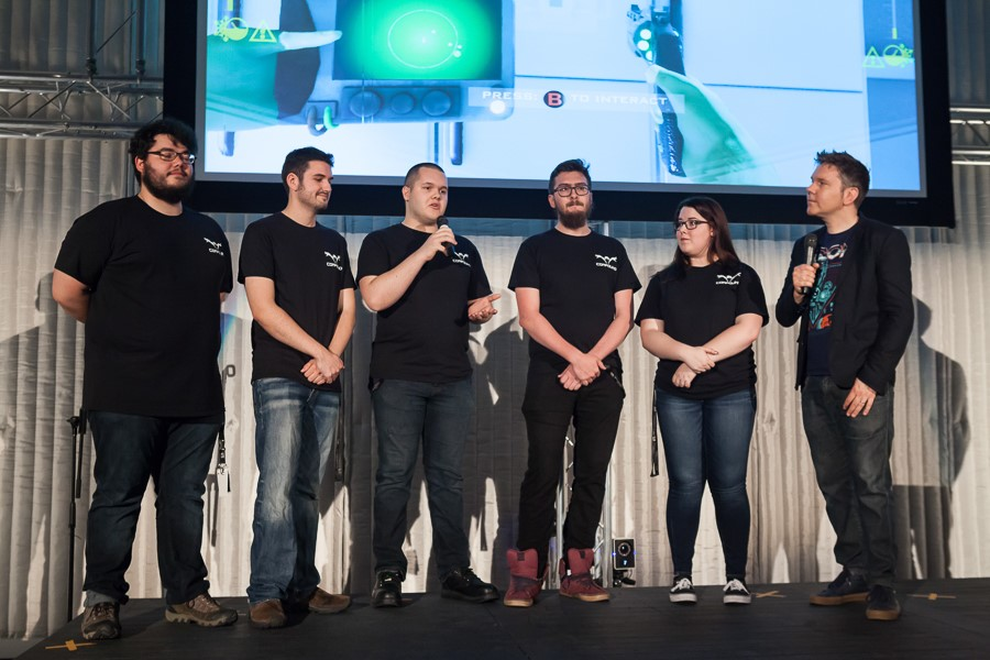 Compound team on stage. (L-R) Colin Ross, Nick Taylor, Greg Tinga, Andrew Garbutt, Brooklyn Hamel.