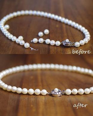 パールネックレス|糸替え|工房礫|世田谷区|東京|オールノット|真珠ネックレス|真珠|修理