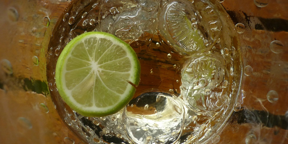 Homemade ginger ale in a glass with a slice of lime